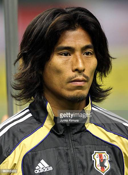 Yuji Nakazawa of Japan looks on piror to playing the Kirin Challenge Cup Soccer match between Japan and Venezuela at Kyushu Sekiyu Dome on February 2...