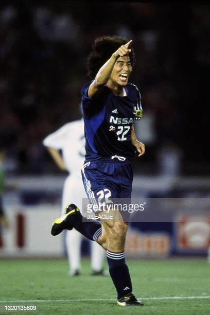 Yuji Nakazawa of Yokohama F.Marinos celebrates scoring a goal during the J.League J1 first stage match between Yokohama F.Marinos and Vissel Kobe at...