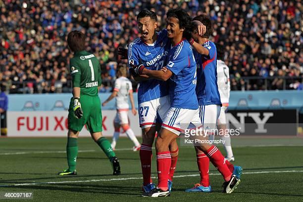 Yuji Nakazawa of Yokohama FMarinos celebrates scoring his team's second goal with his team mate Seitaro Tomisawa during the 93rd Emperor's Cup final...