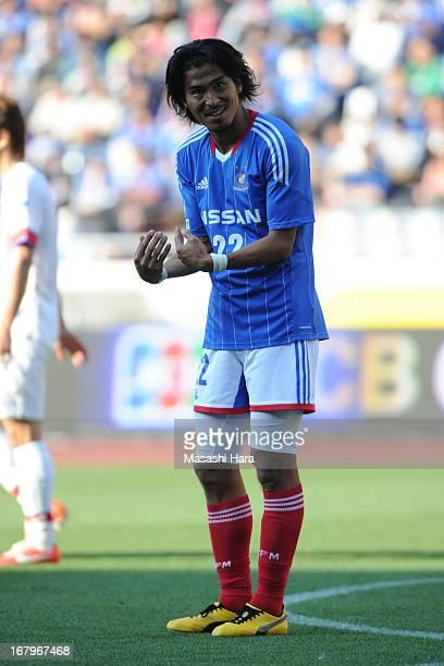 Yuji Nakazawa of Yokohama FMarinos gestures during the JLeague match between Yokohama FMarinos and Kashima Antlers at Nissan Stadium on May 3 2013 in...