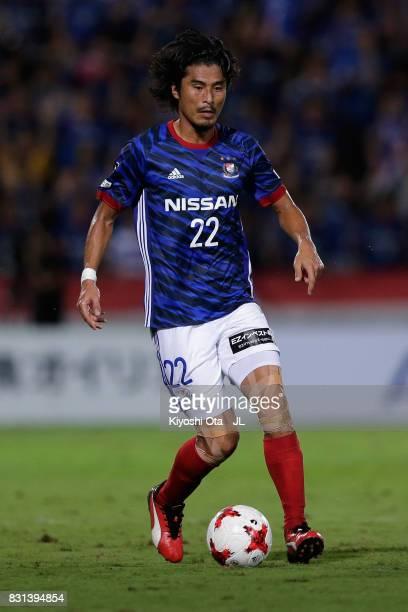 Yuji Nakazawa of Yokohama FMarinos in action during the JLeague J1 match between Yokohama FMarinos and Sagan Tosu at Nippatsu Mitsuzawa Stadium on...