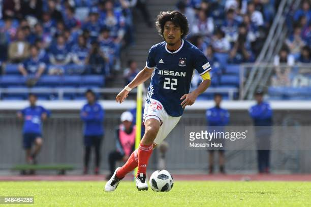 Yuji Nakazawa of Yokohama F.Marinos in action during the J.League J1 match between Yokohama F.Marinos and Vissel Kobe at Nissan Stadium on April 15,...