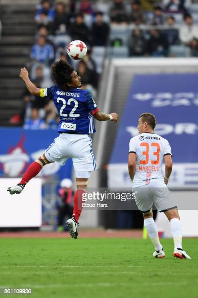 Yuji Nakazawa of Yokohama FMarinos jumps for the header during the JLeague J1 match between Yokohama FMarinos and Omiya Ardija at Nissan Stadium on...