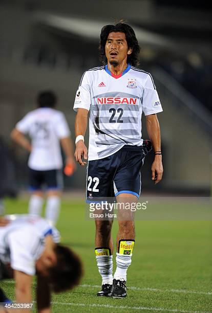Yuji Nakazawa of Yokohama FMarinos looks dejected after the JLeague match between Kawasaki Frontale and Yokohama FMarinos at Todoroki Stadium on...