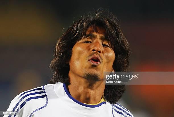 Yuji Nakazawa reacts at a Japan training session during the FIFA 2010 World Cup at Royal Bafokeng Stadium on June 23, 2010 in Rustenburg, South...