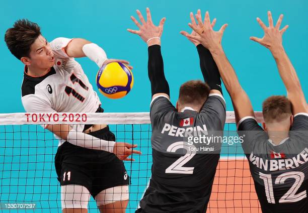 Yuji Nishida of Team Japan competes against Team Canada during the Men's Preliminary Round - Pool A volleyball on day three of the Tokyo 2020 Olympic...