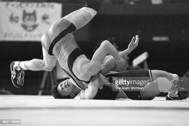 Yuji Takada and HIdeo Sasayama compete in the Men's Freestyle 52kg final during the All Japan Wrestling Championships at the Yoyogi National...