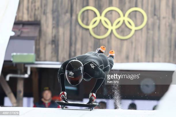 Yuji Takahashi competes in the men's skeleton during All Japan Bobsleigh, Skeleton and Luge Championships at Spiral on December 23, 2013 in Nagano,...