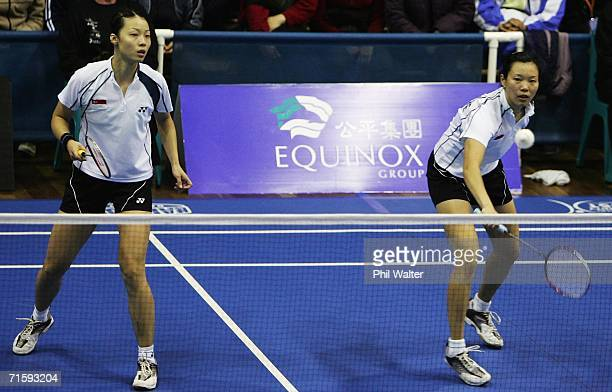 Yujia Li and Yanmei Jiang of Singapore in action during their Womens Doubles Final against Pek Siah Lim and Swee Ling Quay of Malaysia in the New...