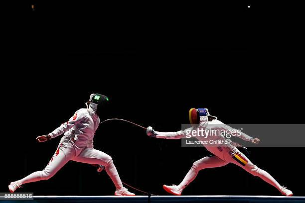 Yujie Sun of China competes against Simona Gherman of Romania during the Women's Epee Team Gold Medal Match bout on Day 6 of the 2016 Rio Olympics at...