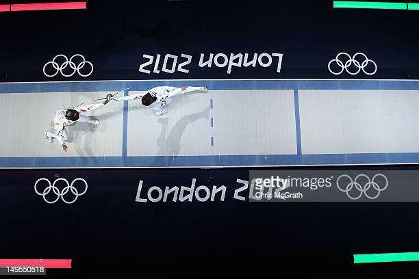 Yujie Sun of China socres a point to defeat A Lam Shin of Korea to win the Bronze Medal Bout in the Women's Epee Individual Fencing on Day 3 of the...
