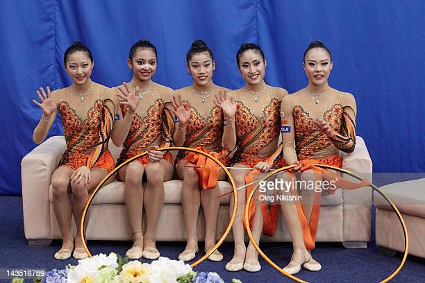 Yuka Endo Kotono Tanaka Rie Matsubara Nina SaeedYokota Airi Hatakeyama of Japanese team during competition of FIG Rhythmic Gymnastics World Cup in...