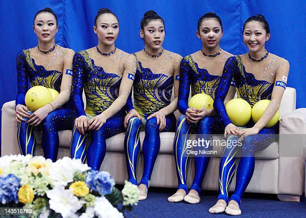 Yuka Endo Rie Matsubara Nina SaeedYokota Airi Hatakeyama Natsuki Fukase of Japanese team during competition of FIG Rhythmic Gymnastics World Cup in...