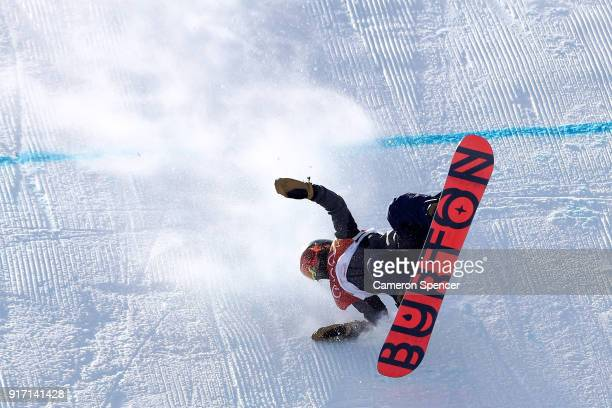 Yuka Fujimori of Japan crashes in the Snowboard Ladies' Slopestyle Final on day three of the PyeongChang 2018 Winter Olympic Games at Phoenix Snow...