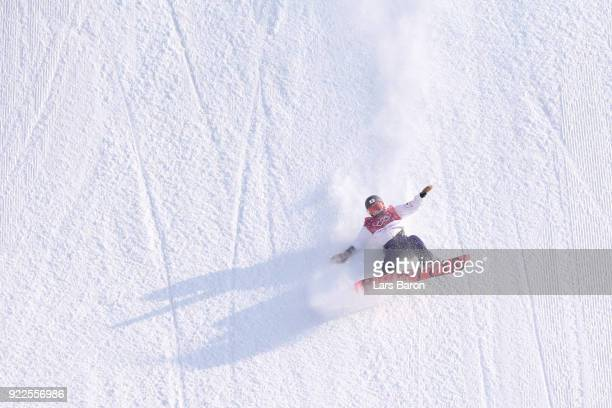 Yuka Fujimori of Japan practices prior to the Snowboard Ladies' Big Air Final on day 13 of the PyeongChang 2018 Winter Olympic Games at Phoenix Snow...