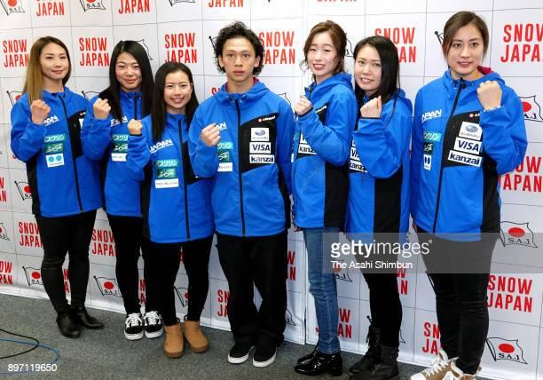 Yuka Fujimori Sena Tomita Kurumi Imai Ayumu Hirano Miyabi Onitsuka Haruka Matsumoto and Tomoka Takeuchi pose for photographs during a press...