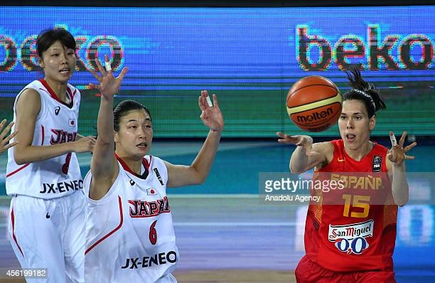 Yuka Mamiya of Japan in action against Anna Cruz of Spain during the 2014 FIBA World Championship For Women Group A basketball match between Japan...
