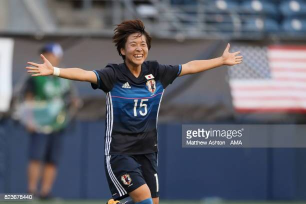 Yuka Momiki of Japan celebrates after scoring a goal to make it 10 during the 2017 Tournament Of Nations match between Japan and Brazil at...