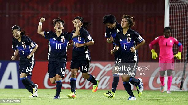Yuka Momiki of Japan celebrates after scoring against Nigeria during their Group B match of the FIFA U20 Women's World Cup Papua New Guinea 2016 on...