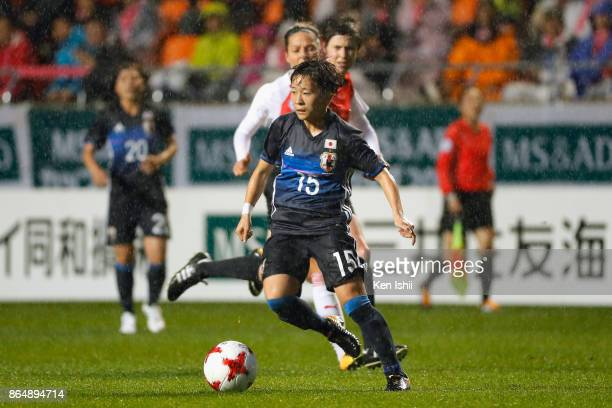 Yuka Momiki of Japan in action during the international friendly match between Japan and Switzerland at Nagano U Stadium on October 22 2017 in Nagano...