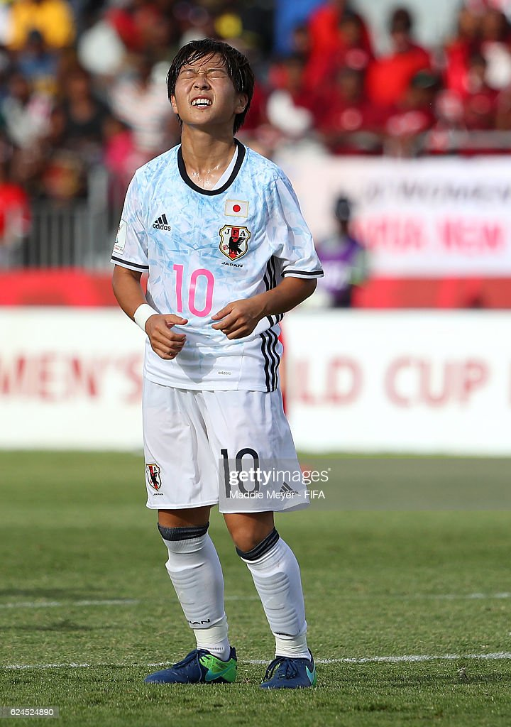 Yuka Momiki #10 of Japan reacts after missing a shot on goal during the Group B match in the FIFA U-20 Women's World Cup Papua New Guinea against Canada on November 20, 2016 at National Football Stadium in Port Moresby, Papua New Guinea.