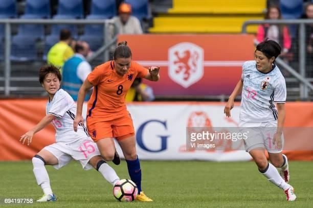 Yuka Momiki of Japan Sherida Spitse of the Netherlands Naomoto Hikaru of Japanduring the friendly match between the women of The Netherlands and...