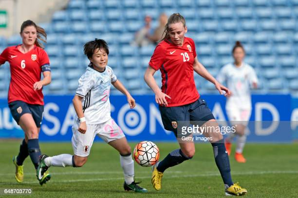 Yuka Momiki of Japan Women challenges Stine Reinas of Norway Women during the match between Norway v Japan Women's Algarve Cup on March 3rd 2017 in...