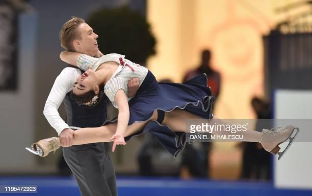 Yuka Orihara and Juho Pirinen of Finland perform in the pairs Ice Dance Rhythm Dance event of the ISU European Figure Skating Championships at the...