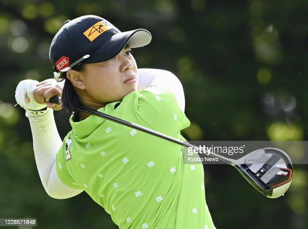 Yuka Saso hits from the first tee during the first round of the Tokai Classic golf tournament at Shin Minami Aichi Country Club in the Aichi...