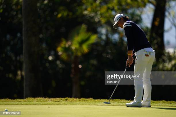 Yuka Saso of Japan attempts a putt on the 10th green during the final round of the JLPGA Tour Championship Ricoh Cup at the Miyazaki Country Club on...