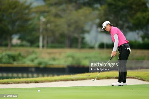 Yuka Saso of Japan attempts a putt on the 18th green during the third round of the JLPGA Championship Konica Minolta Cup at the JFE Setonaikai Golf...