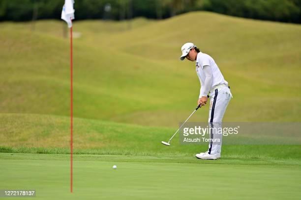 Yuka Saso of Japan attempts a putt on the 1st green during the final round of the JLPGA Championship Konica Minolta Cup at the JFE Setonaikai Golf...