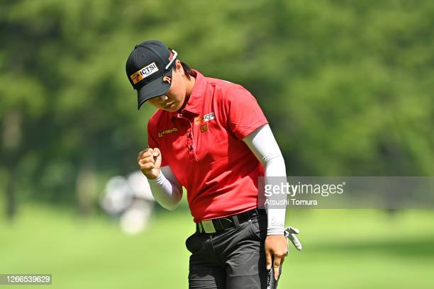Yuka Saso of Japan celebrates the eagle on the 16th green during the final round of the NEC Karuizawa 72 Golf Tournament at the Karuizawa 72 Golf...