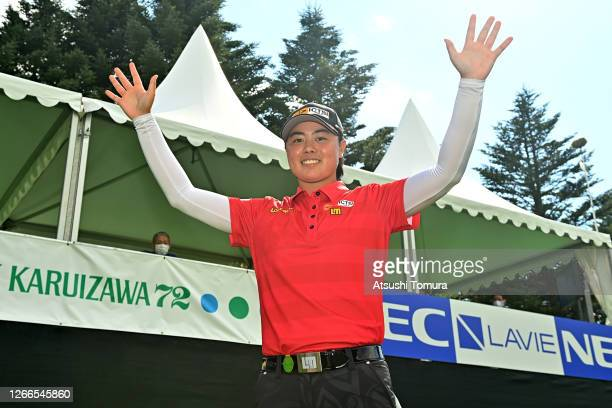 Yuka Saso of Japan celebrates winning the tournament after the final round of the NEC Karuizawa 72 Golf Tournament at the Karuizawa 72 Golf Kita...