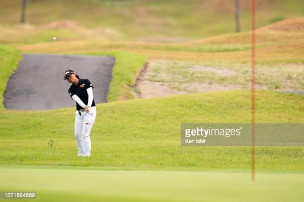 Yuka Saso of Japan chips onto the 9th green during the second round of the JLPGA Championship Konica Minolta Cup at the JFE Setonaikai Golf Club on...