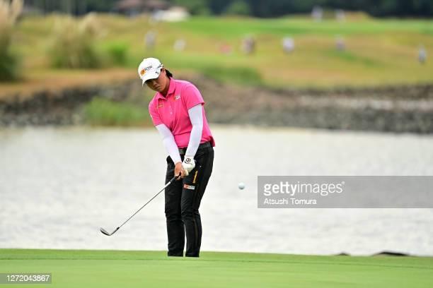 Yuka Saso of Japan chips onto the 9th green during the third round of the JLPGA Championship Konica Minolta Cup at the JFE Setonaikai Golf Club on...