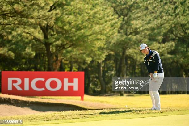 Yuka Saso of Japan hits an approach onto the 13th green during the final round of the JLPGA Tour Championship Ricoh Cup at the Miyazaki Country Club...