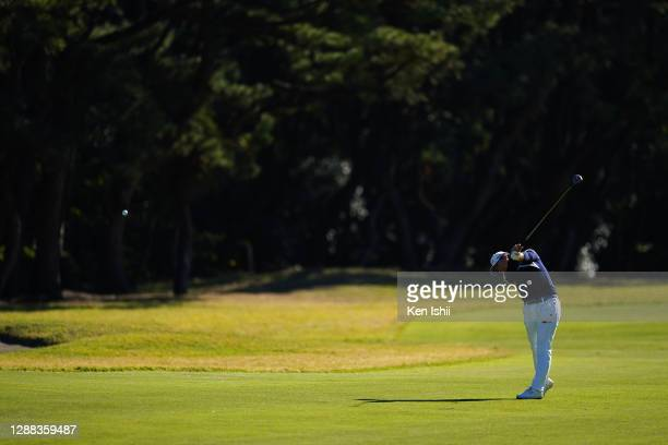 Yuka Saso of Japan hits her second shot on the 13th hole during the final round of the JLPGA Tour Championship Ricoh Cup at the Miyazaki Country Club...