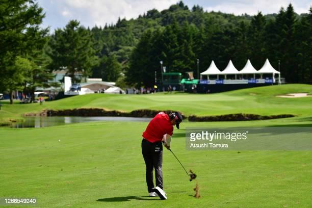 Yuka Saso of Japan hits her second shot on the 18th hole during the final round of the NEC Karuizawa 72 Golf Tournament at the Karuizawa 72 Golf Kita...