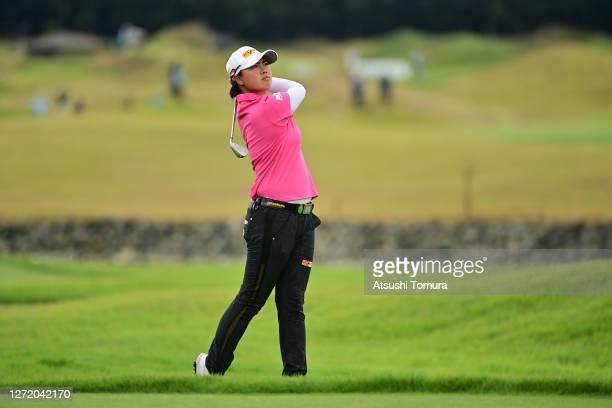 Yuka Saso of Japan hits her second shot on the 7th hole during the third round of the JLPGA Championship Konica Minolta Cup at the JFE Setonaikai...
