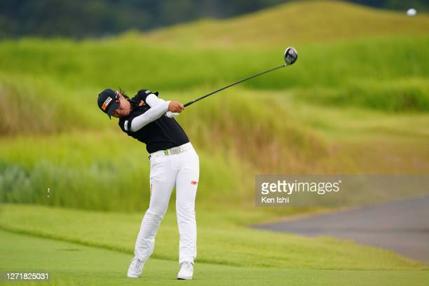 Yuka Saso of Japan hits her tee shot on the 11th hole during the second round of the JLPGA Championship Konica Minolta Cup at the JFE Setonaikai Golf...