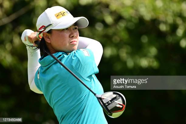 Yuka Saso of Japan hits her tee shot on the 15th hole during the second round of the Descente Ladies Tokai Classic at the Shin Minami Aichi Country...