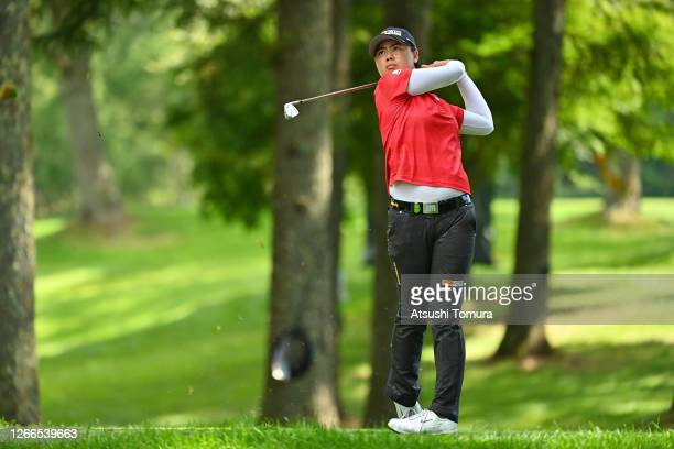 Yuka Saso of Japan hits her tee shot on the 17th hole during the final round of the NEC Karuizawa 72 Golf Tournament at the Karuizawa 72 Golf Kita...