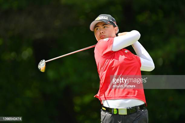 Yuka Saso of Japan hits her tee shot on the 18th hole during the final round of the NEC Karuizawa 72 Golf Tournament at the Karuizawa 72 Golf Kita...