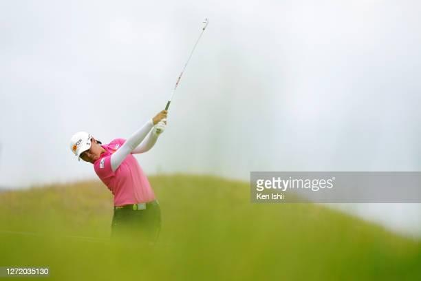 Yuka Saso of Japan hits her tee shot on the 3rd hole during the third round of the JLPGA Championship Konica Minolta Cup at the JFE Setonaikai Golf...