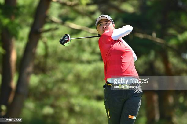 Yuka Saso of Japan hits her tee shot on the 4th hole during the final round of the NEC Karuizawa 72 Golf Tournament at the Karuizawa 72 Golf Kita...