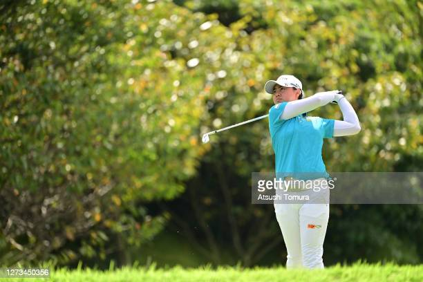 Yuka Saso of Japan hits her tee shot on the 6th hole during the second round of the Descente Ladies Tokai Classic at the Shin Minami Aichi Country...