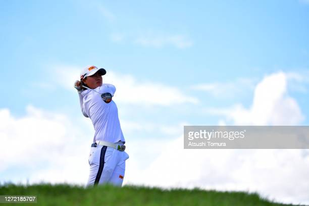 Yuka Saso of Japan hits her tee shot on the 7th hole during the final round of the JLPGA Championship Konica Minolta Cup at the JFE Setonaikai Golf...