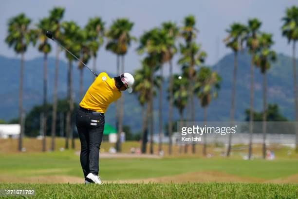 Yuka Saso of Japan hits her tee shot on the 7th hole during the first round of the JLPGA Championship Konica Minolta Cup at the JFE Setonaikai Golf...