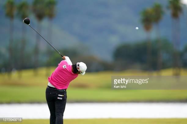 Yuka Saso of Japan hits her tee shot on the 9th hole during the third round of the JLPGA Championship Konica Minolta Cup at the JFE Setonaikai Golf...
